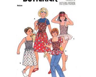 Girls Vintage Pattern Dress Top Skirt & Briefs Pattern Butterick 6055 Elasticized Top Swimsuit Tween Girls Sewing Pattern Size 10 12 UNCUT