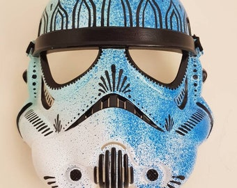 Hand painted storm trooper mask in blue
