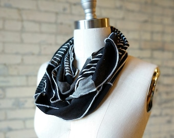 Black and White Infinity Scarf - Patchwork Scarf Made from Organic Cotton & Bamboo Jersey