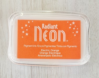 Neon Ink Pad - Radiant Neon Electric Orange Pigment Ink Pad Large - Ink for stamp - Inkpad for Rubber Stamp - Bright Orange Ink - Orange Ink
