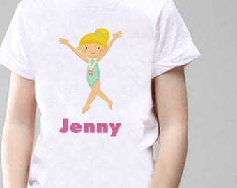 Gymnastics Personalised T-Shirt, Printed With Any Name.