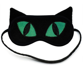 Black Cat Sleep Mask, Cute animal sleeping eye mask, Catnap, Silk or cotton eyemask, Emerald green, Kitty sleepmask, Gift for her him, Ears