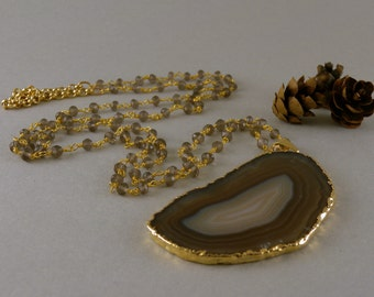 Long Earthy Brown Agate Geode Slice Stone Necklace in Gold and Smoky Quartz Stone Chain