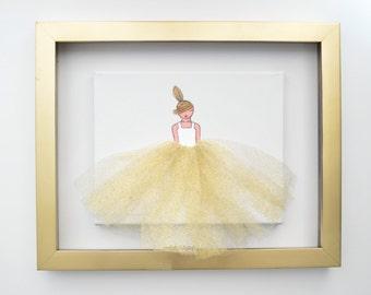 Ballerina Art, Nursery Decor, (Glitter Gold Lady)