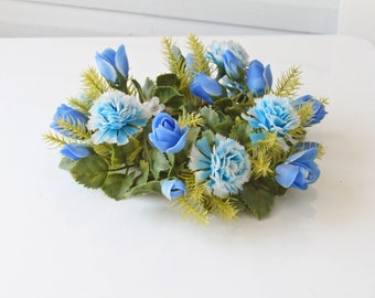 Adorable Vintage Blue Hue Plastic Flower Candle Ring