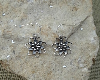 Lotus Earrings, Oxidized Sterling Silver Lotus Flower Dangle Earrings, Yoga Jewelry, New Listing