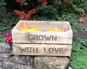 Personalised rustic wooden crate/planter