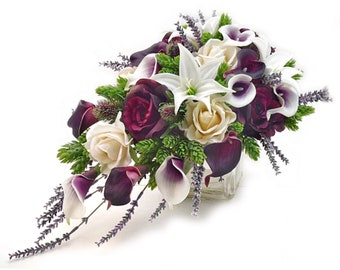 Stemple's Cascades- Picasso and Plum Callas, Plum and Ivory Roses, White Tiger Lilies, Hops, Lavender & Thistle