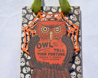 Winking Owl Halloween Ornament-Wood