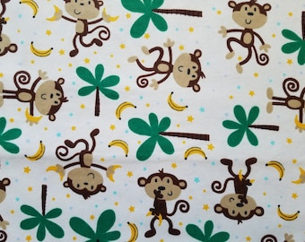 Monkeys and Bananas Flannel by the yard