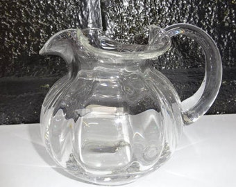 Vintage Glass Jug/Pitcher with Applied Handle/Water Jug/Glass Jug/Decorative Glass Jug/Vintage Jug/Glass Pitcher/Drinkware/Vintage