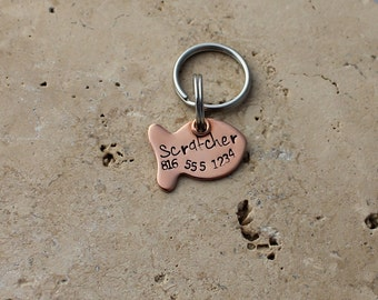 Copper Cat Tag - Cat ID Tag - Cat Name Tag - Pet Tags - Personalized Cat Tag - Tiny Tag - Small Tag - Handstamped Tag - Fish Tag - Scratcher