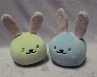 "One (1) Chubby Bunny Ball 4"" soft minky blue green blob plush"