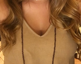 Burgundy double wrap necklace with gold bar