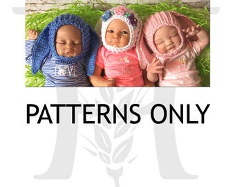 Newborn Bitty Bunny Bonnet Crochet Pattern for babies