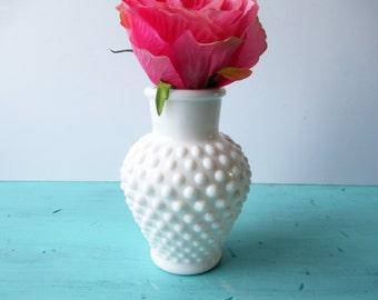 Vintage Milk Glass Hobnail Vase - Classic Decor