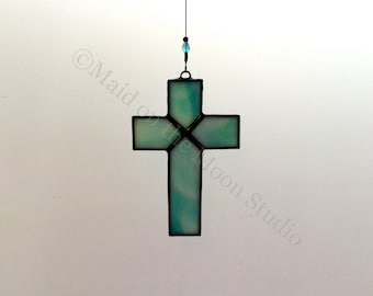 Stained Glass Cross - Medium Iridescent Teal Cross