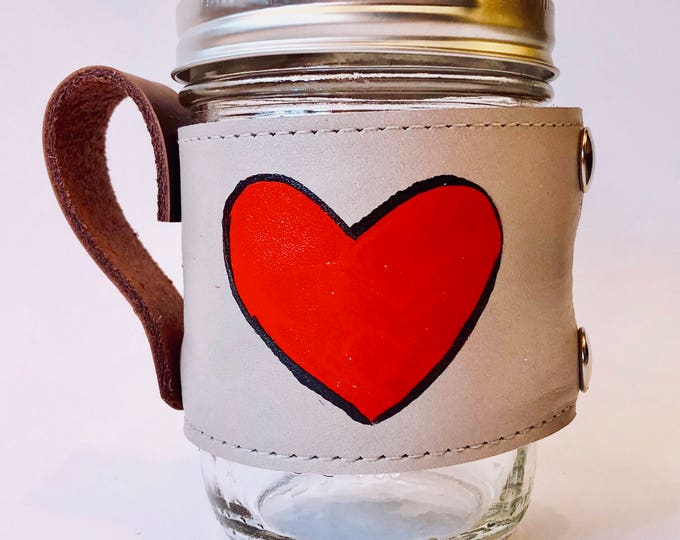Valentine's Day hand painted heart Kurier leather Camp Mug