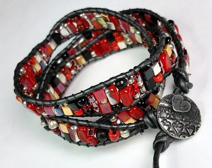 Red and Black Triple Wrap Bracelet - Leather Wrap Bracelet - Beaded Wrap Bracelet - Adjustable Bracelet