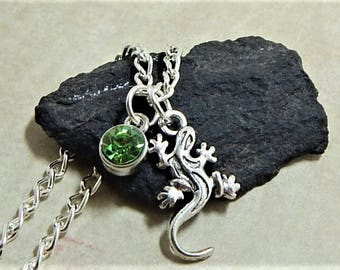 Gecko Necklace, Personilized, with a Birthstone, Gecko Lover, Lizard, Reptile, Lizard Necklace, Gecko Gift