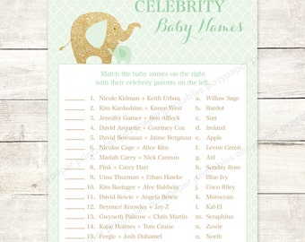 celebrity baby names matching game card printable elephant mint green gold glitter gender neutral baby shower digital games INSTANT DOWNLOAD