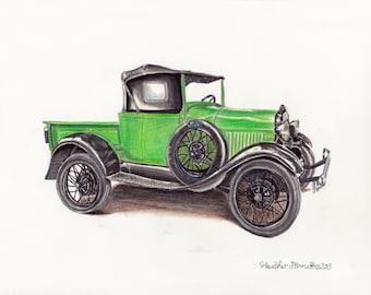 Green Vintage Ford Truck~ Original Mixed Media Fine Art Illustration Drawing~ by Heather Stinnett