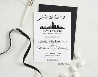 New York Skyline Save The Date Announcement, New York Save The Date Cards Wedding, Silhouette Save The Date, NYC Save The Date, Tristin