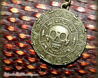 Pirates of the Caribbean, Aztec Medallion Necklace, Pirate Gold Coin, Cursed Treasure, Pirate Doubloon, Disney Inspired, Life is the Bubbles