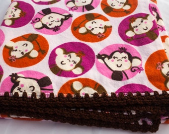 Baby Flannel Receiving Blanket with Monkeys