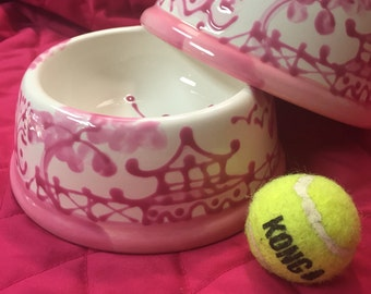 Chinoiserie Dog Bowl - MEDIUM Pink copyright design*** for personalized bowl, an additional name listing must be purchased***