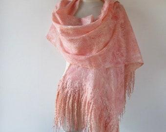 Cobweb Felted scarf, Peach Apricot stole, Light Peach shawl, felt shawl , Wedding Airy scarf by Galafilc