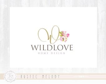Floral Logo Design Photography Logo Wedding Logo Initial Logo Watercolor Logo Boutique Logo Shabby Chic Logo