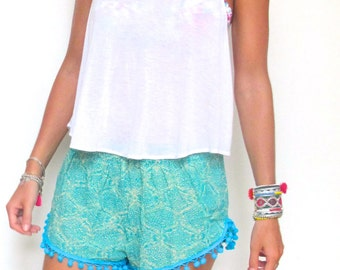 Pom Pom Shorts - Turquoise snake print with Aqua Pom Pom's- Gym/Beach Shorts
