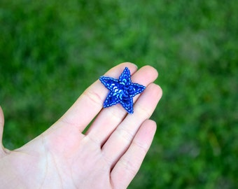 """3 Mini Royal Blue Star Patches with Sequins and Beading 3/4"""""""