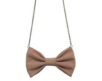Tan Beige Bow Tie Necklace,Girls  Women Bowtie, Tan Sand BowTie Pendant