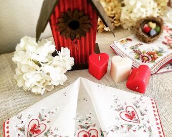 """Vintage Ladies Handkerchief, Wedding Hankie, Roses, Hearts, Sweetheart, Printed Flowers, Bride, Bridesmaid, Red, White  13"""""""