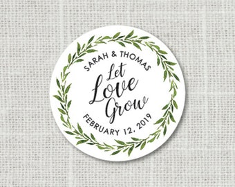 Let Love Grow Wedding Stickers Let Love Grow Stickers Greenery Wedding Favor Stickers Greenery Wedding Labels Custom Wedding Stickers
