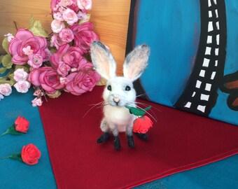 Needle felted bunny gift for mother, felt soft bunny sculpture gift for girlfriend, needle felted gift animal figurines, felt easter bunny.