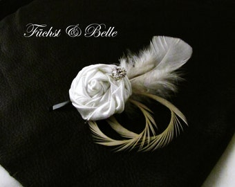 White rose bridal fascinator /  wedding headpiece / White satin rosette with Ivory goose feathers and rhinstone
