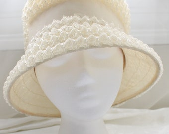 Vintage Ivory White Raffia Straw Woven Bucket Hat with Ribbon and Bow Detailing