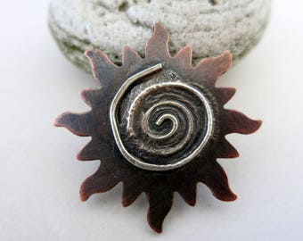 Melted Silver on Copper Sun, Reticulated Silver, Mixed Metal Pendant, Lot 5