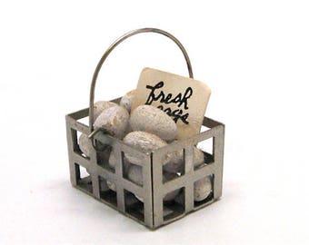 Dollhouse Basket of Eggs, Egg basket, Farm Fresh Eggs, Miniature, Groceries, Old Stock, 1:12 Scale