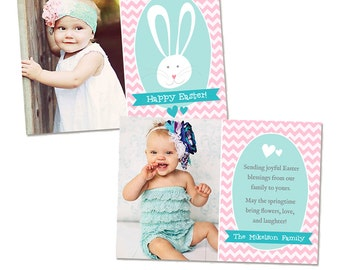 Easter Photo Card Template - Easter Bunny Chevron - Photoshop Template for Photographers INSTANT DOWNLOAD