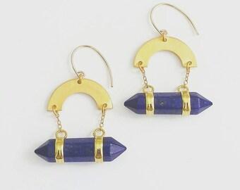 Lapis Arc Amulet drop earrings. Lapis and gold drop earrings. Lapis earrings. Lapis statement earrings.