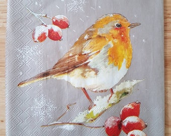 Set of 4 Christmas Robin Square Paper Lunch Napkins Decoupage Crafts Collage Scrapbooking #122