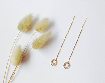 """Gold Threader Earrings with twisted rings in 14K Gold Filled, Long threader earrings """"Goldilocks"""", Comme les Blés"""