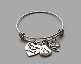 Forever In My Heart Bracelet, Mother Memorial Bracelet, Mom Memorial Bracelet, Loss Of Mother, Remembrance Charm Bracelet, Stainless Steel