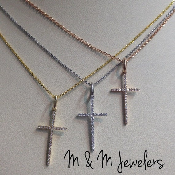 14K Rose, White, and Yellow Gold Pave Set Round Brilliant Cut Diamond Cross Necklace SOLD SEPARATELY