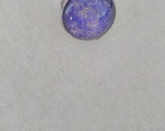 ring, purple glitter white, glass cabochon magnifying glass 20 mm, Adjustable ring, small budget.