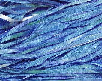 Dark Blue Hand Dyed Silk RIbbon